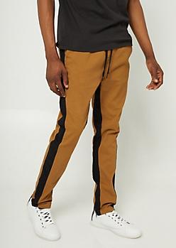 Camel Varsity Stripe Pattern Zipper Joggers
