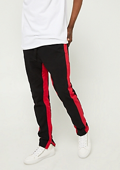 Red Varsity Stripe Pattern Zipper Joggers