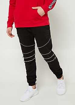 Black Moto Zipper Joggers