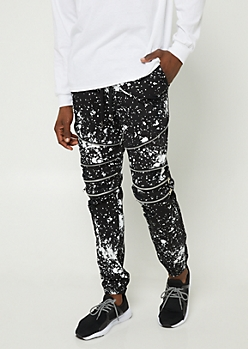 Black Splatter Paint Print Moto Zipper Joggers
