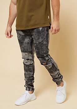 Flex Black Acid Wash Ripped Knee Moto Denim Joggers