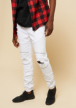 Flex White Ripped Knee Moto Denim Joggers