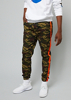 Flex Camo Print Side Striped Twill Joggers