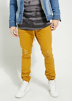 Camel Ripped Knee Ruched Twill Joggers