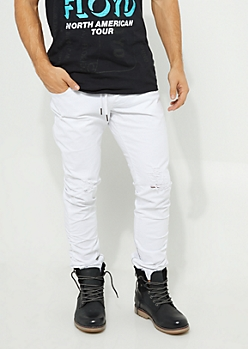 White Twill Ruched Zip Ankle Joggers