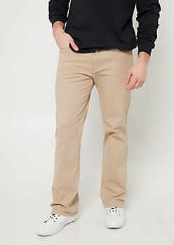 Khaki Slim Straight Twill Pants