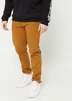 Camel Slim Straight Leg Pants