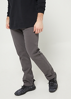 Charcoal Gray Slim Straight Twill Pants