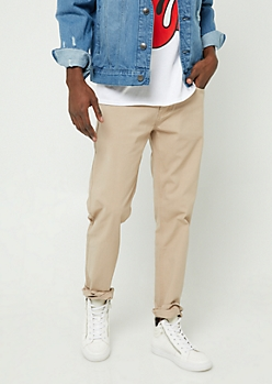 Khaki Slim Straight Leg Pants