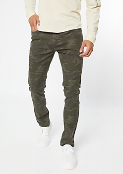 Camo Print Twill Skinny Pants