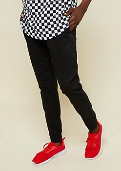 Black Stitched Knee Twill Joggers