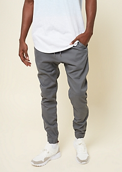 Gray Stitched Knee Twill Joggers