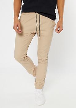 Khaki Ankle Zip Twill Joggers