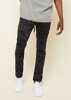 Flex Black Marbled Acid Wash Skinny Moto Jeans
