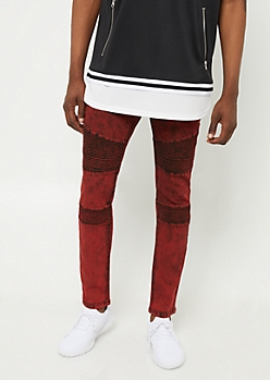 Flex Red Acid Wash Skinny Moto Jeans