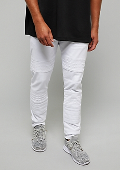 Flex White Embossed Gel Moto Skinny Jeans