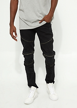 Flex Black Ripped Zipper Skinny Jeans