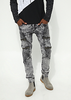Charcoal Gray Acid Washed Flex Skinny Fit Moto Jeans
