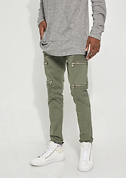 Flex Olive Zippered Moto Skinny Jeans