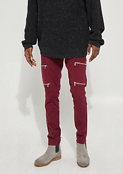 Flex Burgundy Zippered Moto Skinny Jeans