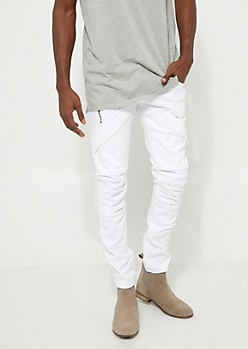 Flex White Pocket Flap Skinny Jeans