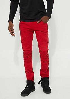 Flex Red Pocket Flap Skinny Jeans