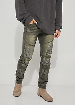 Flex Olive Ripped Zipper Skinny Jeans
