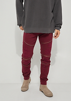 Flex Burgundy Ripped Zipper Skinny Jeans