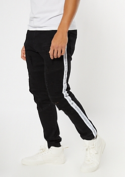 Black Reflective Side Stripe Moto Jeans
