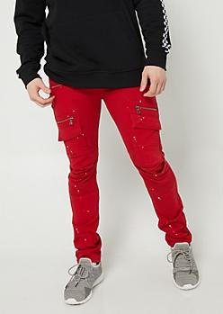 Red Paint Splatter Cargo Moto Skinny Jeans