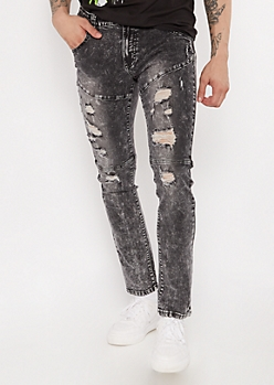 Flex Black Acid Wash Ripped Super Skinny Jeans
