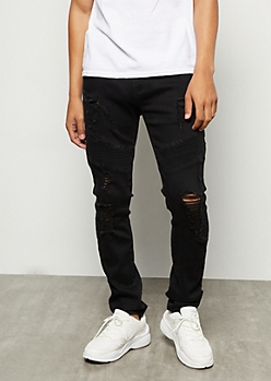 Flex Black Destroyed Moto Skinny Jeans