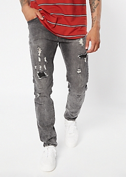 Supreme Flex Black Acid Wash Distressed Skinny Jeans
