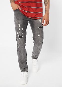 Supreme Flex Black Acid Wash Distressed Skinny Jeans