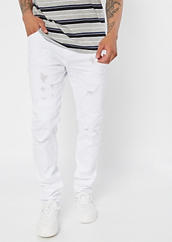 Supreme Flex White Distressed Skinny Jeans