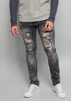 Black Acid Wash Distressed Super Skinny Jeans