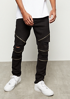 Flex Black Zippered Ripped Moto Jeans