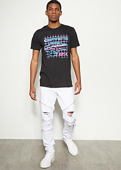 Flex White Zippered Ripped Moto Jeans