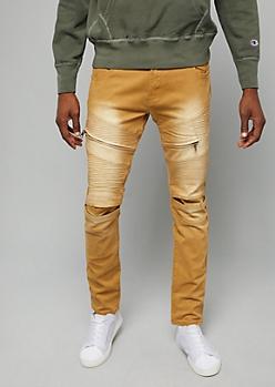 Flex Mustard Sandblasted Moto Twill Skinny Pants
