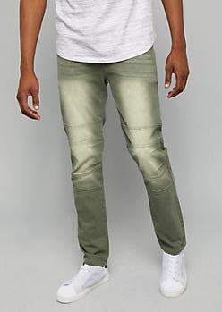 Flex Olive Sandblasted Knee Seam Skinny Pants