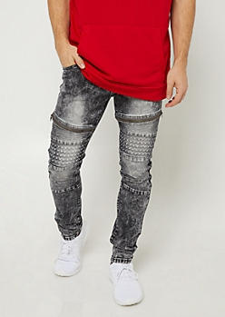 Black Acid Wash Skinny Moto Jeans