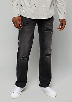 Flex Black Wash Ripped Patch Bootcut Jeans