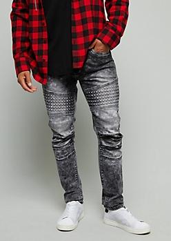 Black Stonewash Gel Moto Skinny Jeans