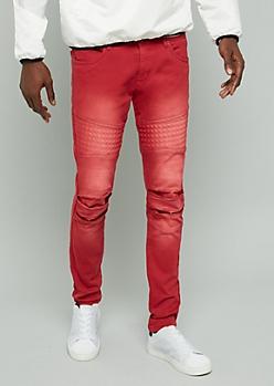 Red Stonewash Gel Moto Skinny Jeans
