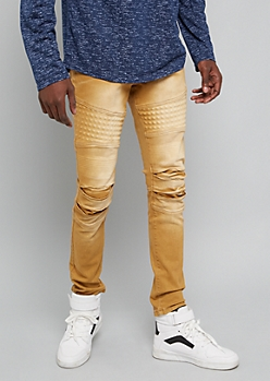 Camel Stonewash Gel Moto Skinny Jeans
