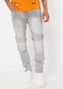 Supreme Flex Gray Acid Wash Moto Skinny Jeans