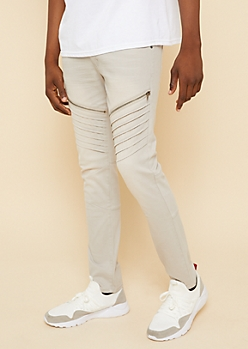 Flex Light Gray Stitched Zipper Skinny Jeans