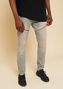 Flex Gray Stitched Zipper Skinny Jeans