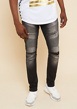 Flex Black Split Knee Skinny Moto Jeans
