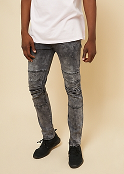 Flex Faded Black Knee Seam Skinny Jeans
